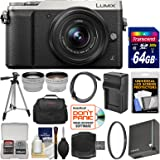 Panasonic Lumix DMC-GX85 4K Wi-Fi Digital Camera & 12-32mm Lens (Silver) with 64GB Card + Case + Battery & Charger + Tripod + Tele/Wide Lens Kit