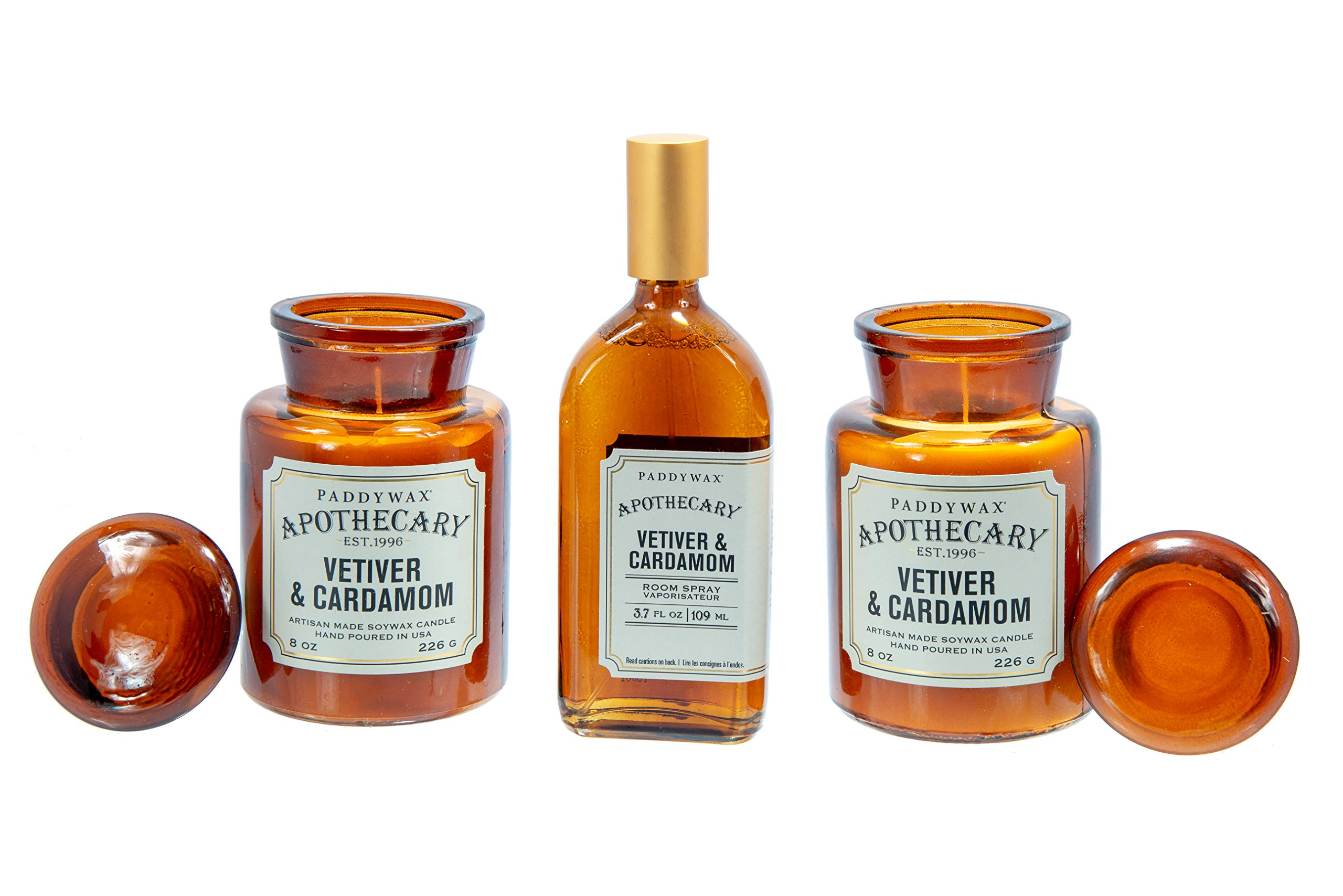 Paddywax Apothecary Collection Scented Soy Wax Jar Candle - Set of 2, with Paddywax Apothecary Room Spray, Vetiver & Cardamom