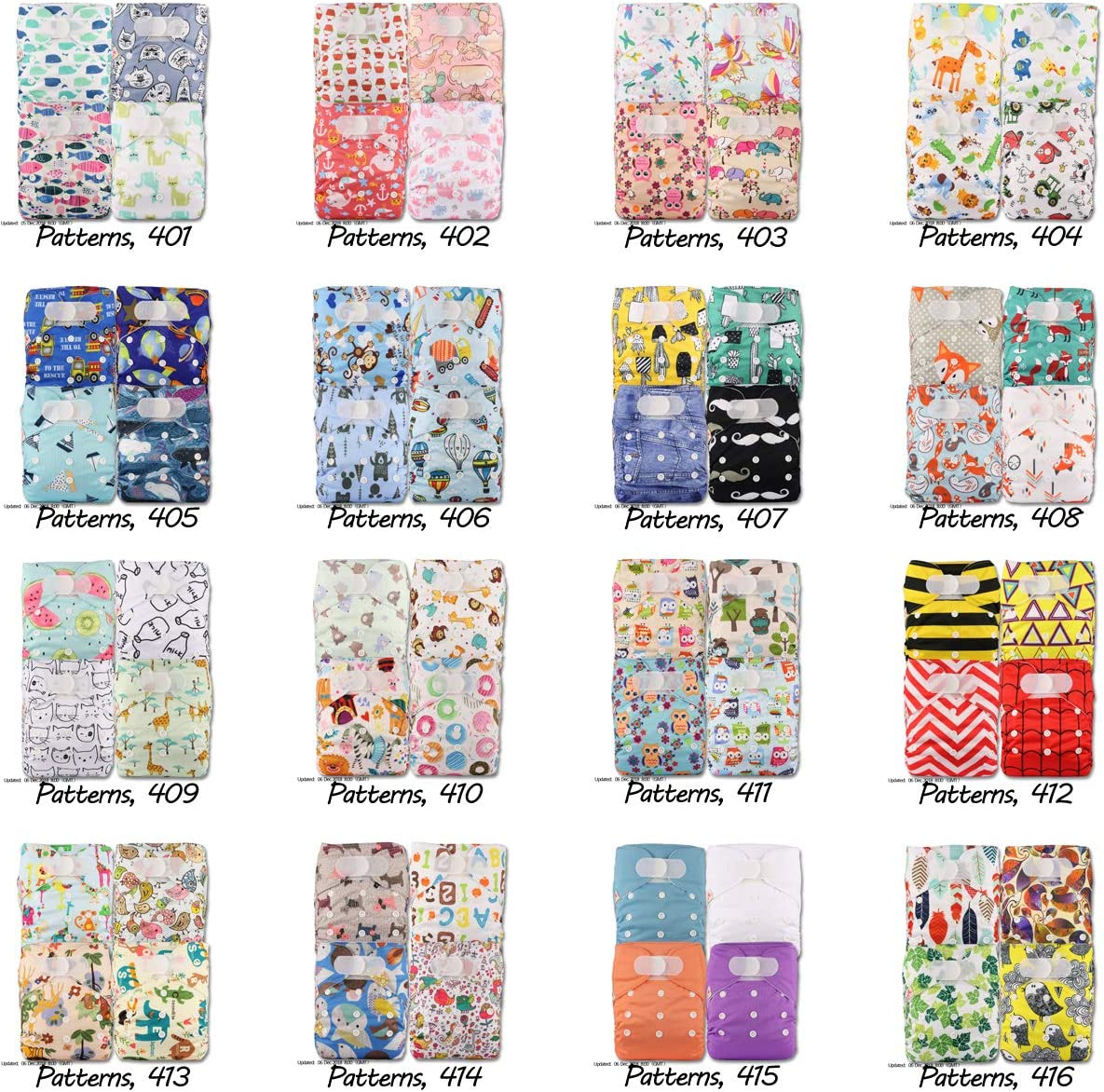 Fastener: Hook-Loop with 8 Bamboo Inserts Littles /& Bloomz Set of 4 Reusable Pocket Cloth Nappy Patterns 418
