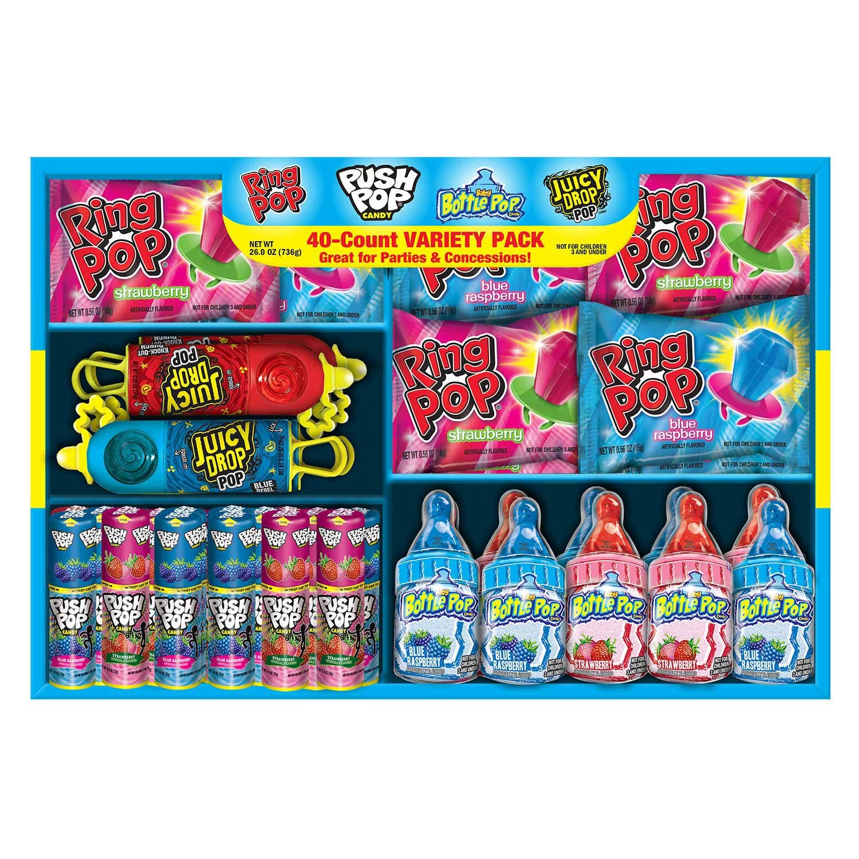 Bazooka Hard Candy, Ring Pop, Push Pop, Bottle Pop, Juicy Drop, Variety Pack, 40 Count by Bazooka