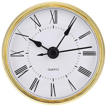 50 mm 55 mm Roman Numeral Hole Hicarer 2-1/8 Inch Zinc-Alloy Metal Case Gold Quartz Clock Fit-up/Insert Fit Diameter 1.97 Inch