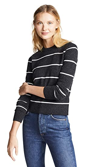 4e4c2b63b0ca Vince Women's Striped Cashmere Sweater, Charcoal/Off White, X-Small
