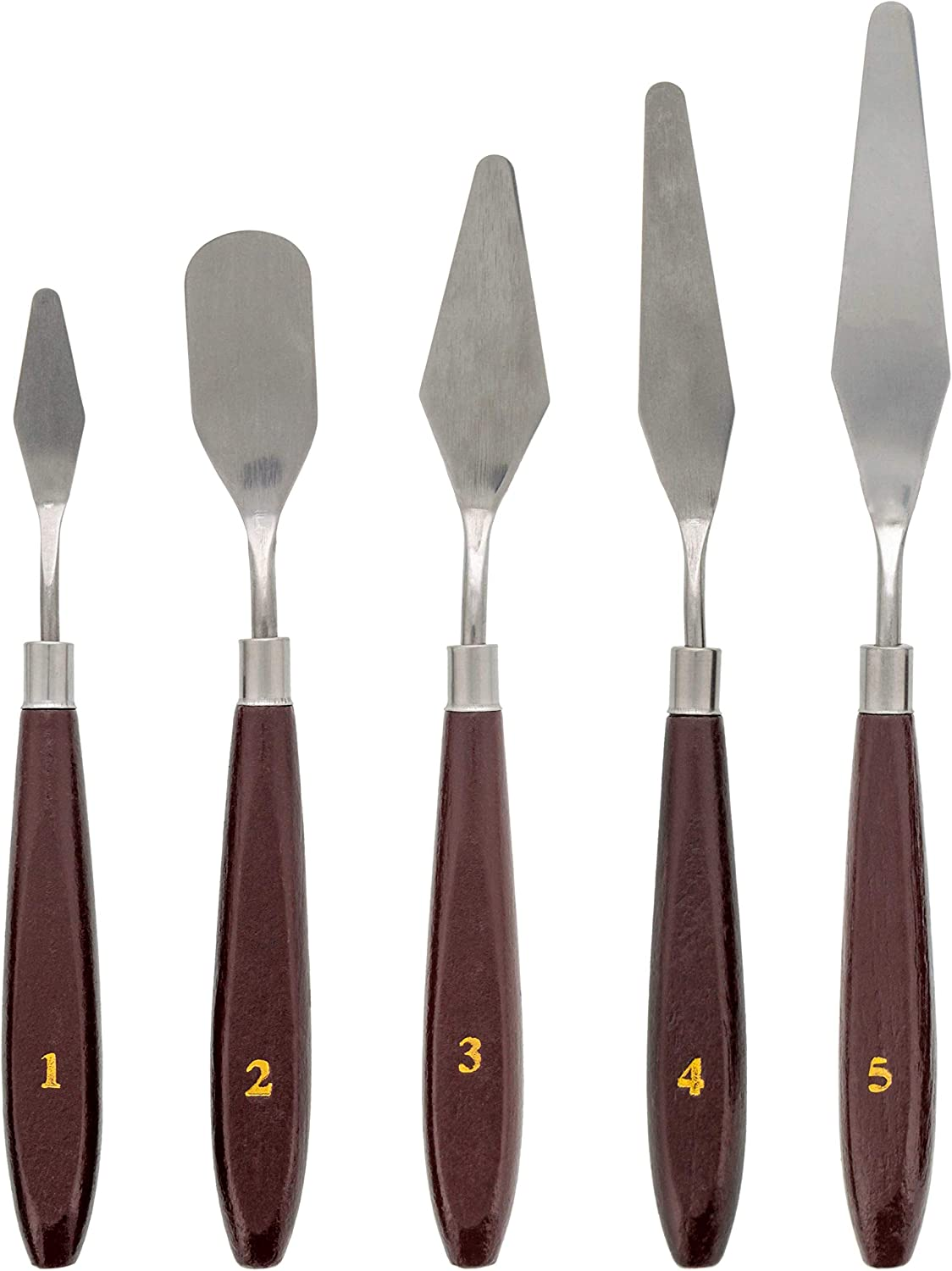 US Art Supply 5 Piece Stainless Steel Palette Knife Set - Thin & Flexible Spatulas & Painting Knives for All Oil or Acrylic Painting & Color Mixing and as a 3-D Printer Removal Tool