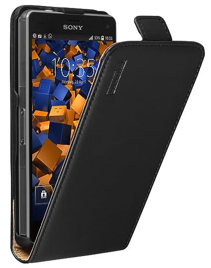 mumbi Echt Leder Flip Case kompatibel mit Sony Xperia Z3 Compact Hülle Leder Tasche Case Wallet, schwarz