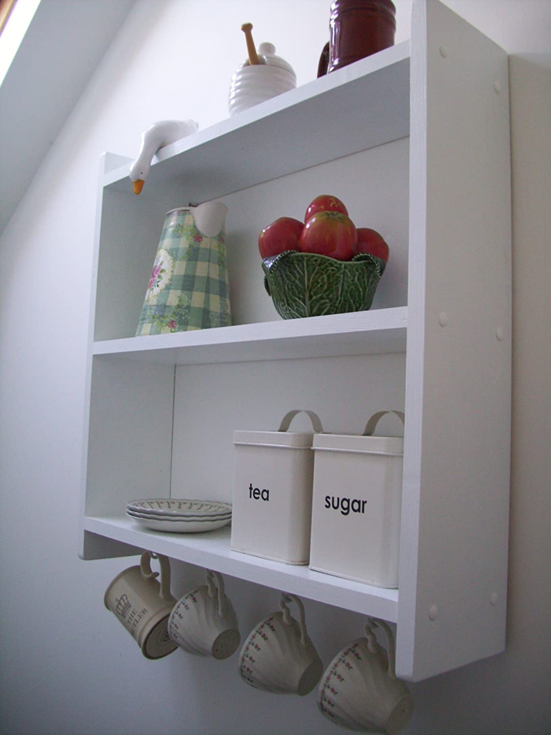 60cm pine white shelving unit with cup hooks kitchen shelves bedroom shelves bathroom shelves spice rack bookcase amazon co uk kitchen home