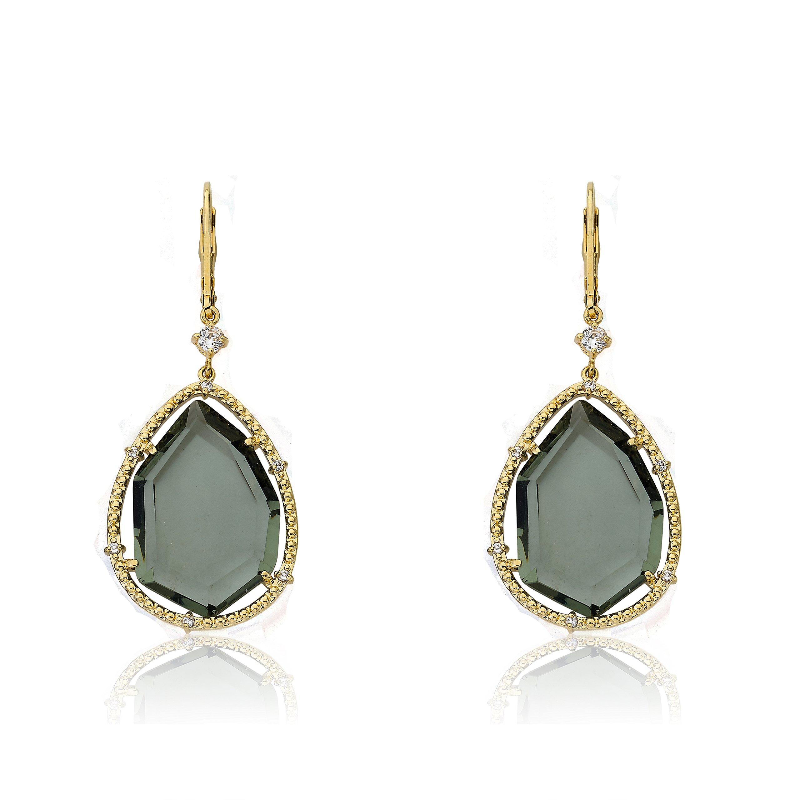 Riccova Sliced Glass 14k Gold-Plated CZ Trimmed Black Sliced Glass Teardrop Dangle Earring
