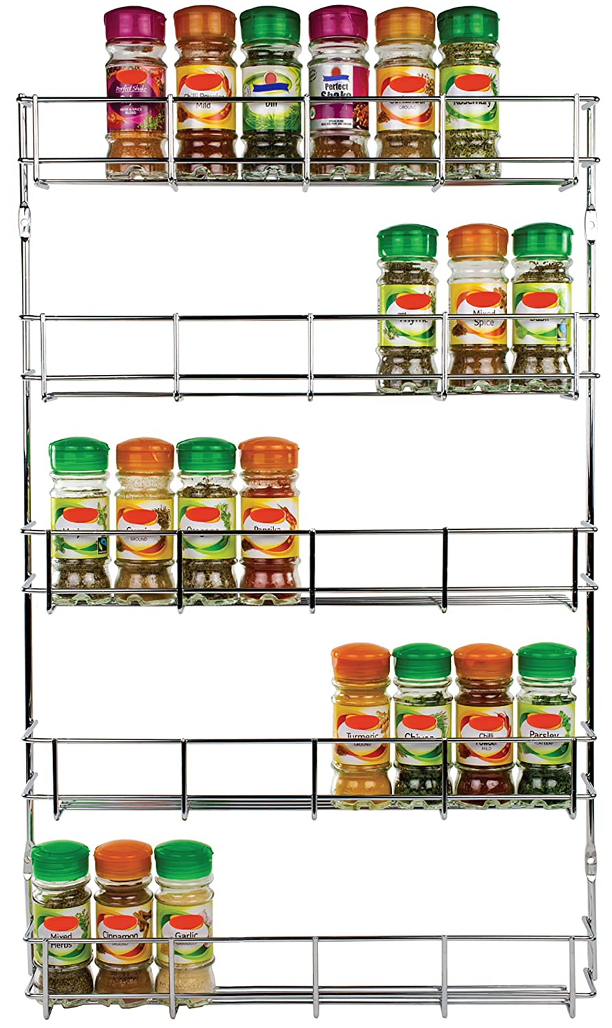 rack. andrew james 5 tier herb and spice rack for up to 40 jars packets chrome mountable wall or cupboard fixing screws included amazoncouk kitchen a