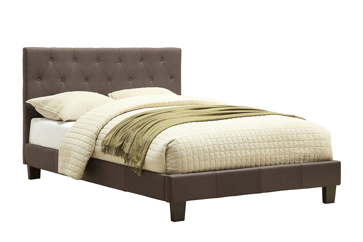 Furniture of America Roy Fabric Platform Bed with Button Tufted Headboard Design, California King, Gray