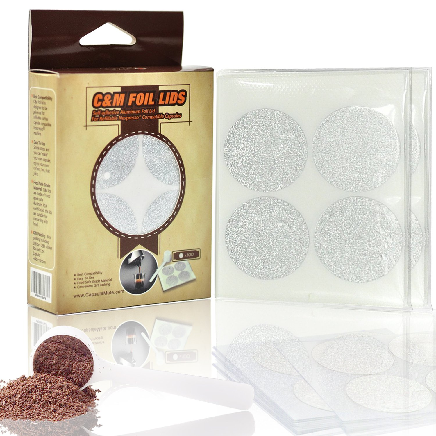 IreVoor Espresso Lids Self Adhesive Capsules Foil Seals (200/package)