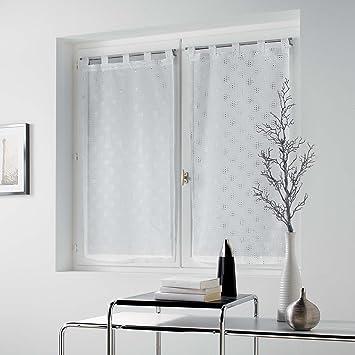 Douceur dInt/érieur Paire droite passants Polyester Imprime Voile Sable Fils Argent Olenya 2 x 60 x 90 cm