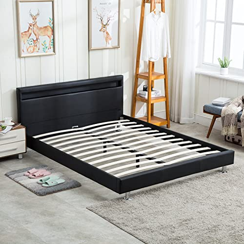 Walcut Faux Leather Platform Bed Frame
