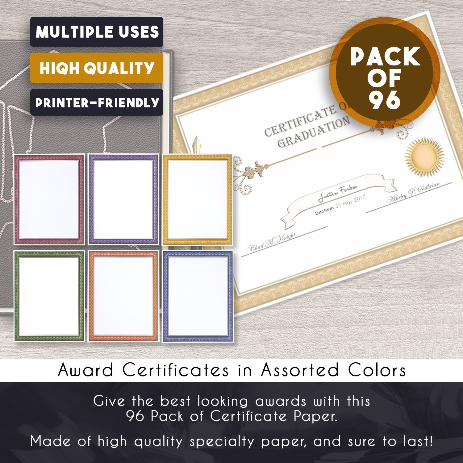 amazon com 96 pack certificate papers 6 different assorted