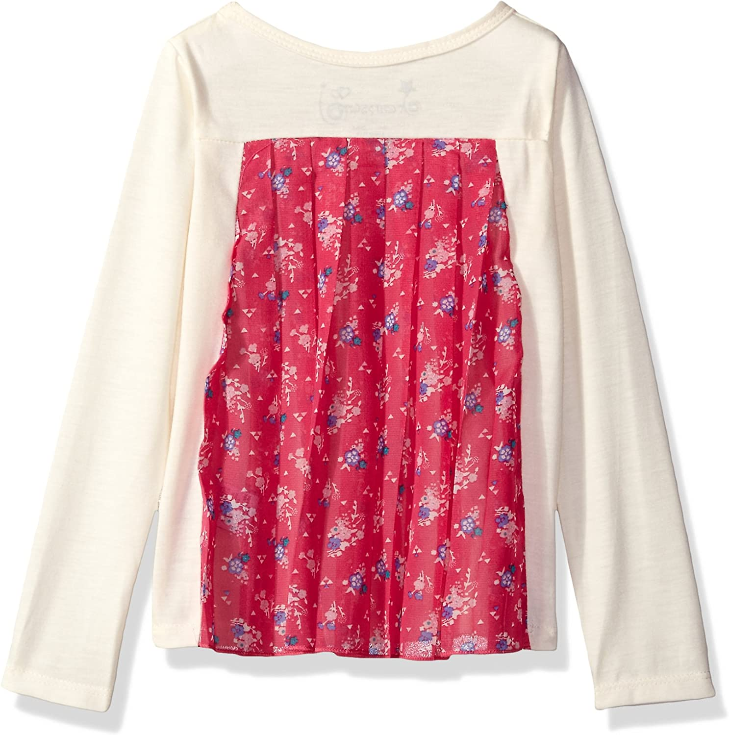 Dream Star Girls L//s Screen Top with Pleated Floral Chiffon Back