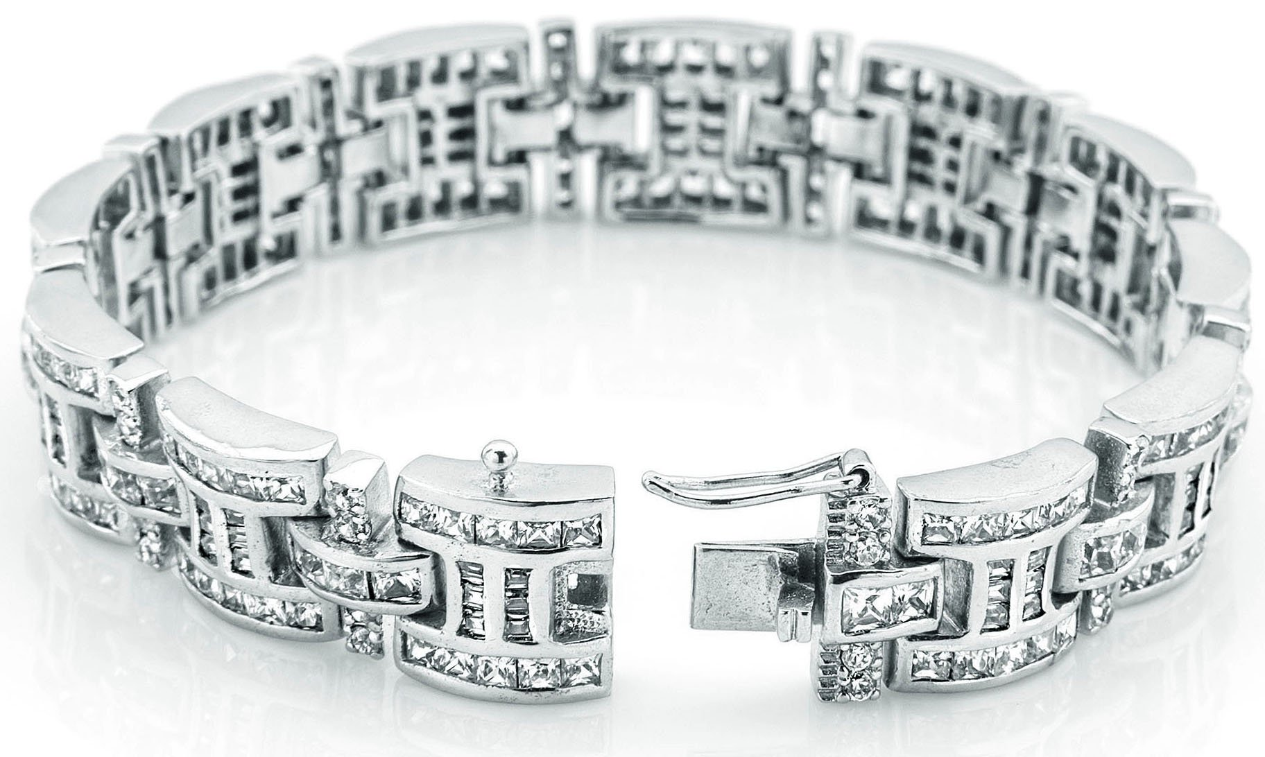 Men's Sterling Silver .925 Bracelet with 276 Channel set Fancy Princess Cubic Zirconia (CZ) Stones, Box Lock, Platinum Plated. Sizes available 8''9'' by Sterling Manufacturers (Image #3)
