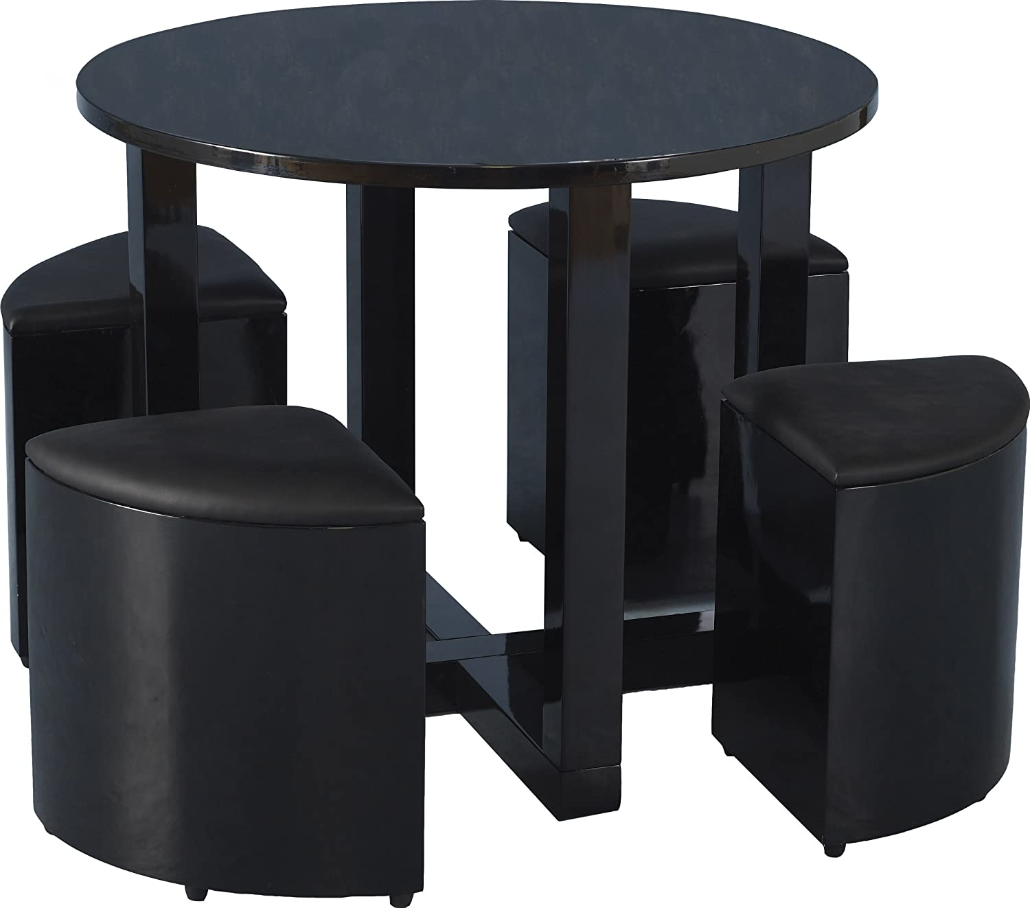 Seconique Charisma Stowaway 90cm Black Gloss Dining Table and 4 Stools Set Amazon.co.uk Kitchen u0026 Home  sc 1 st  Amazon UK & Seconique Charisma Stowaway 90cm Black Gloss Dining Table and 4 ... islam-shia.org