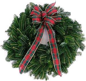 "Van Zyverden 87443 Live Fresh Cut Blue Ridge Mountain Fraser Fir Window 16"" with Bow Holiday Wreath, Green"