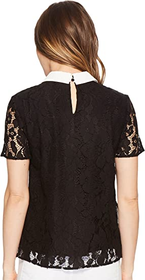 4b17ff8b7d44c CeCe Womens Short Sleeve Two-Tone Floral Lace Top at Amazon Women s  Clothing store