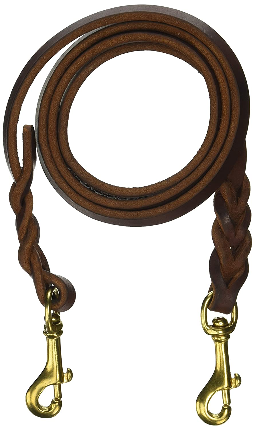 Dean and Tyler Double Snap Braided Dog Leash, Brown 5-Feet by 1 2-Inch with Solid Brass Snaps.