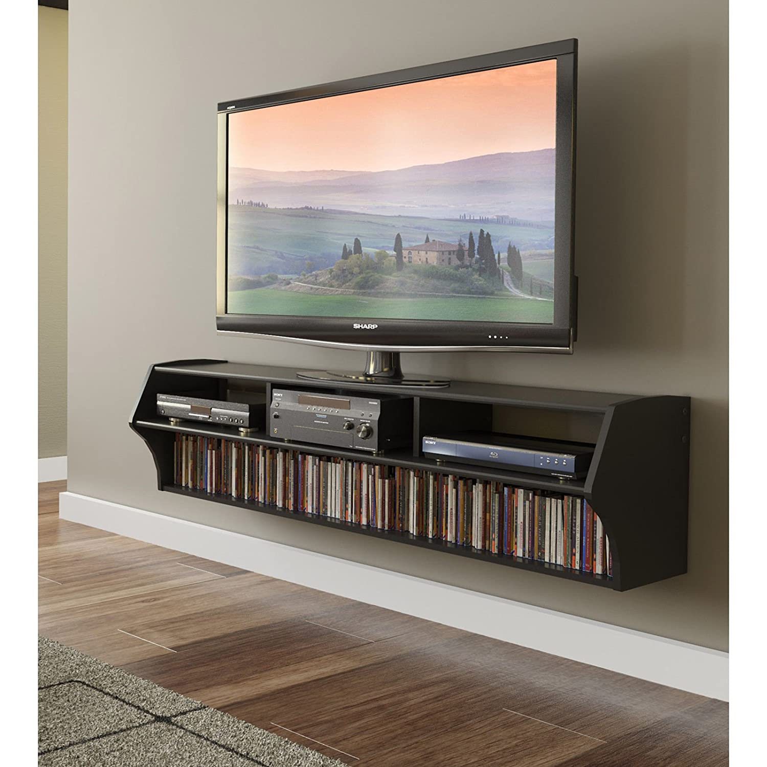Metro Shop Broadway Black Altus Plus 58-inch Floating TV Stand