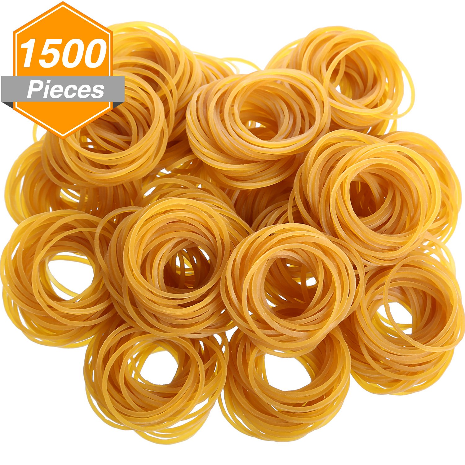 Gejoy 1500 Pieces Rubber Bands Stretchable Rubber Loop Bands for School Office Home Use, 50 mm by 1.5 mm, Dark Yellow