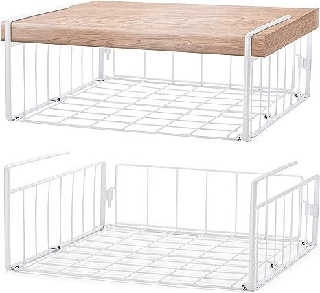 Under Cabinet Organizer Shelf, 2 Pack Wire Rack Hanging Storage Baskets for Kitchen Pantry