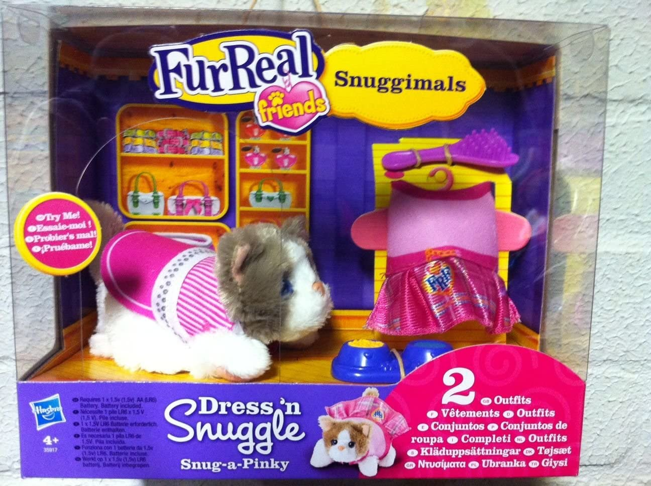 Amazon Com Fur Real Friends Snuggimals Dress N Snuggle With Lilac Paint Kitten Snug A Pinky Toys Games