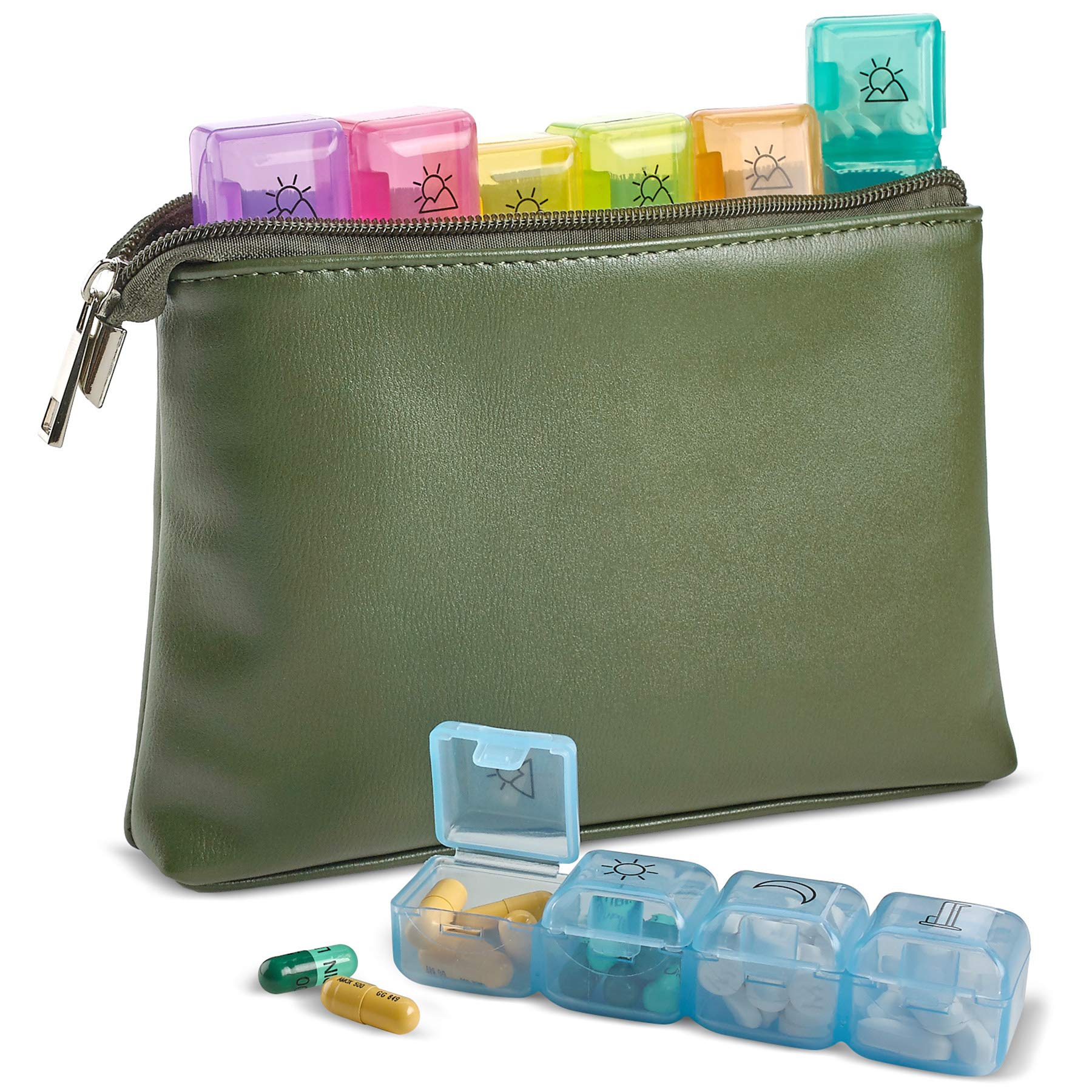 Weekly Travel Pill Organizer - 7-Days per Week, Zipper Wallet Pouch and Daily AM PM 4 Times a Day Boxes for Pills, Vitamins and Medication with Individual Pill Container Dispenser Case by MEDca