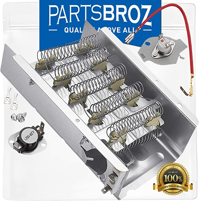 279838 Heating Element & 279816 Thermal Cut-Off Kit by PartsBroz - Compatible with Whirlpool Dryers - Replaces AP3094254, WP279837, 279838VP, 3398063, 8565582, AH334313, EA334313, PS334313, W10724237
