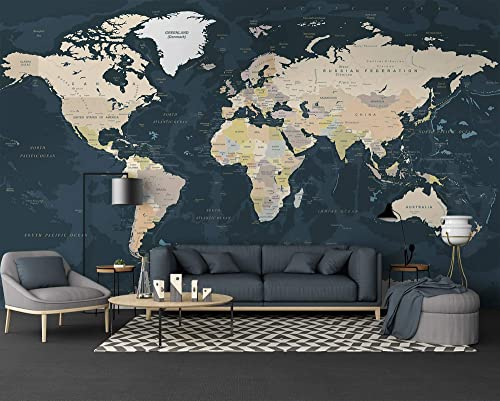 Amazon Com Murwall Map Wallpaper Dark Political World Map Wall Mural Large Maps Wallpaper Living Room Young Room Cafe Handmade