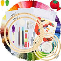 Similane Embroidery Kit 215 Pcs,100 Colors Threads,5 Pcs Embroidery Hoops,3 Pcs Aida Cloth,40 Sewing Pins,Cross Stitch…