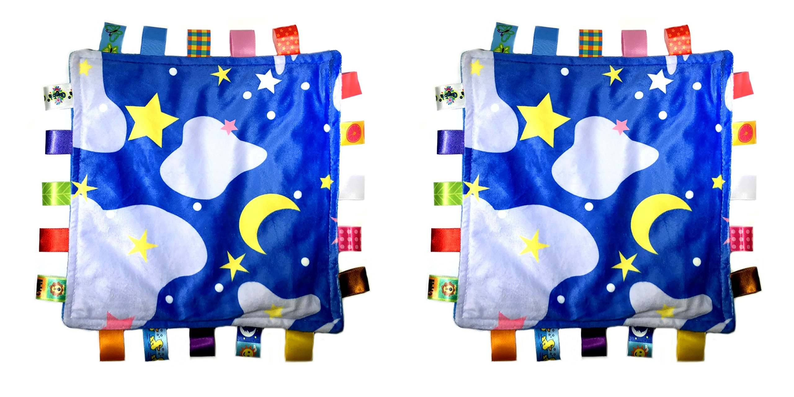 Little Tag Style Colors Security Comforting Teether Blanket - Night Starry Sky Theme 2-Pack Gift Set