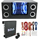 "Pyramid BNPS102 10"" 1000W Dual Car Subwoofers + Box + 1100W Mono Amp + Amp Kit"