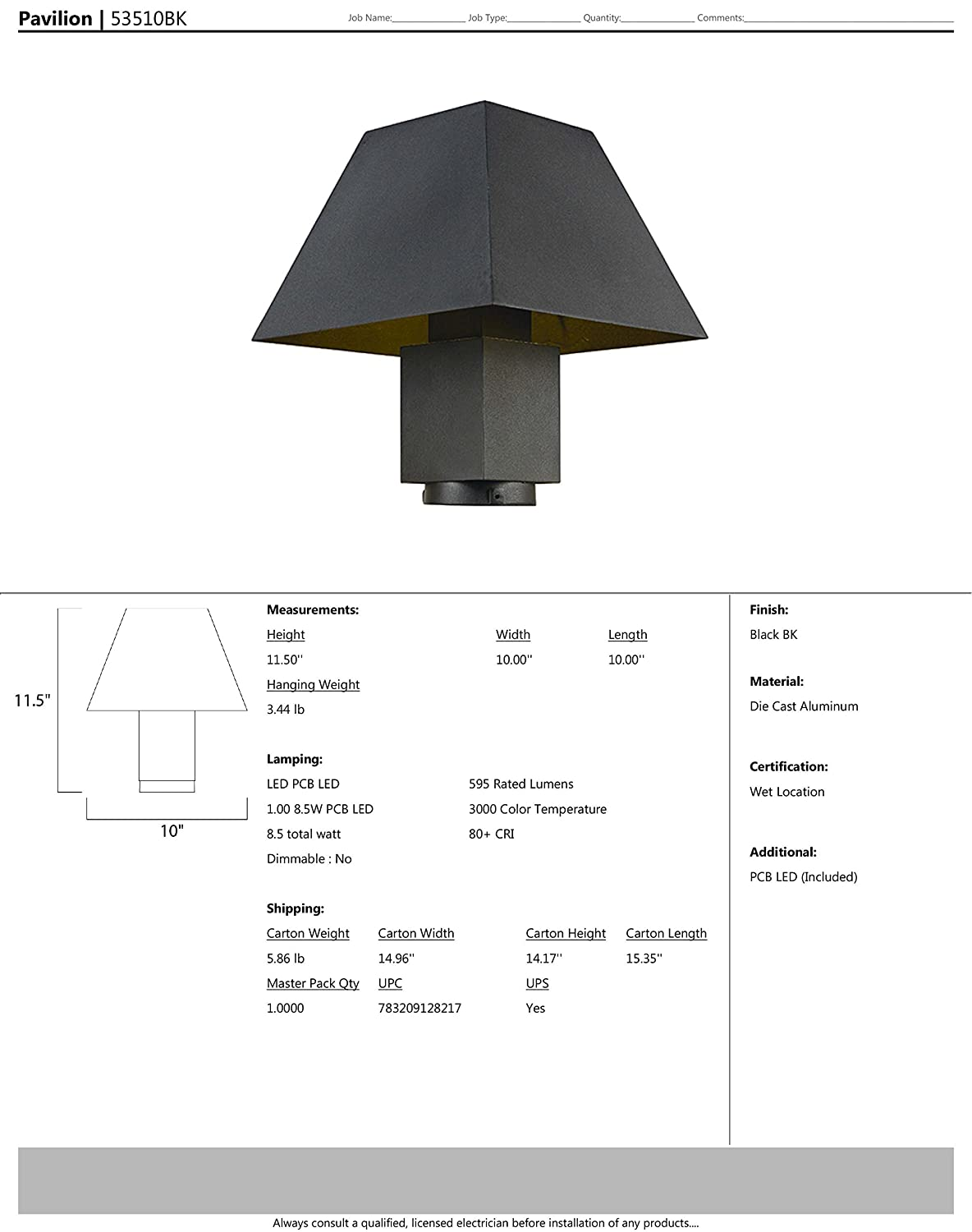 Shade Material PCB LED Bulb Rated Lumens Standard Dimmable Damp Safety Rating 100W Max. Maxim 53510BK Pavilion LED Outdoor Post Mount Black Finish Glass