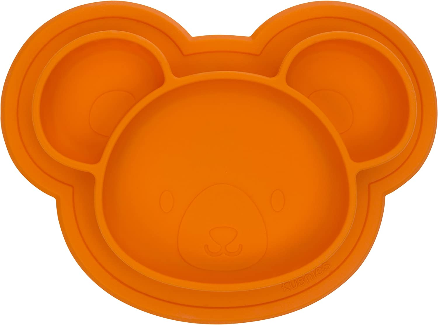Toddlers and Kids Orange Bear Kushies Baby SILIPLATE Silicone Divided Plate with Suction for Babies