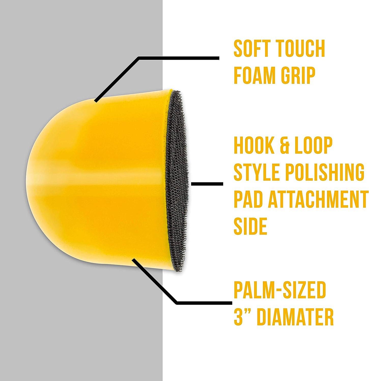 3 Palm Grip Mini Hand Foam Polishing Pad Holder Manually Buff Polish Car