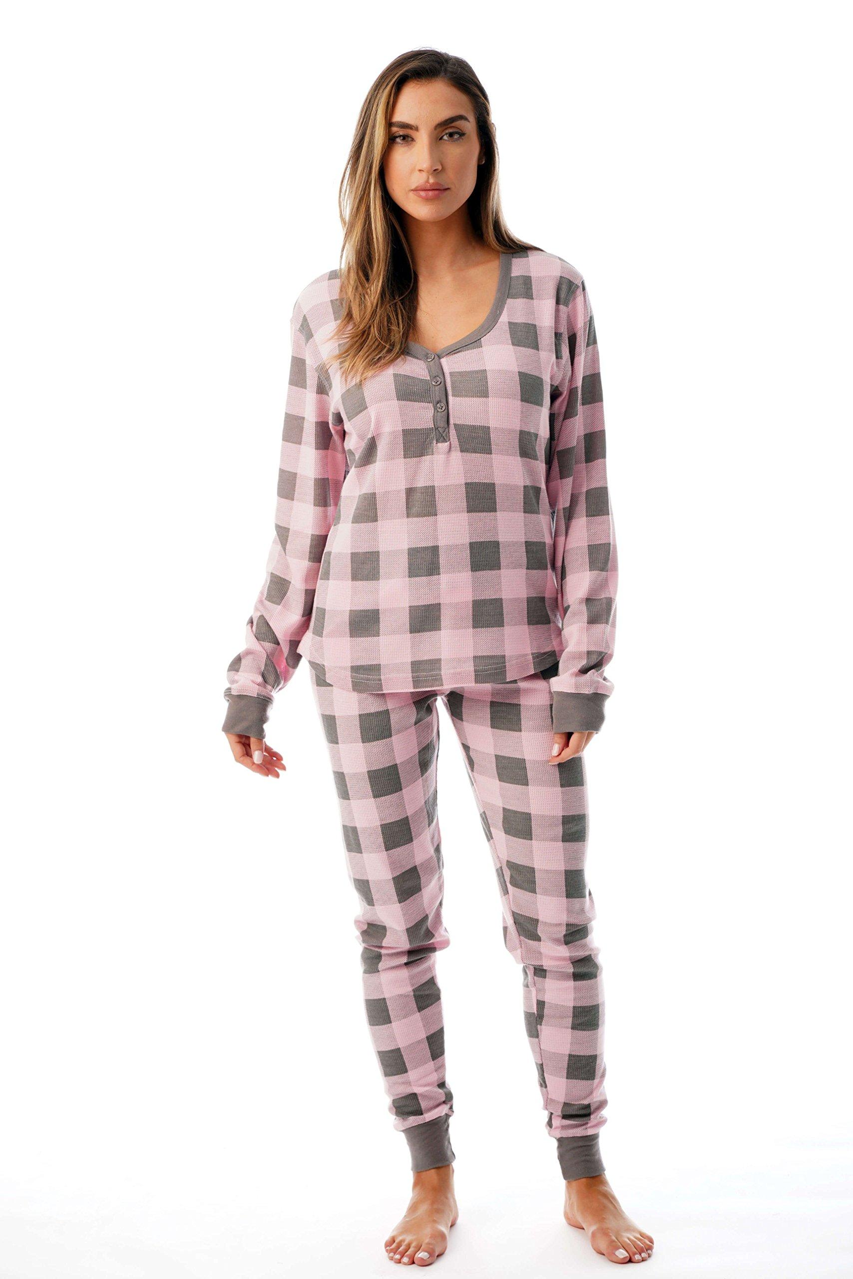 #followme Buffalo Plaid 2 Piece Base Layer Thermal Underwear Set for Women 6372-10195-NEW-PNK-M by #followme