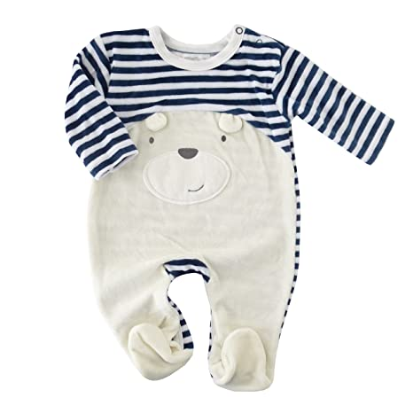 Pijama Pelele Azul Blanco oso rayas Biberon con bordados azul azul, blanco Talla:3