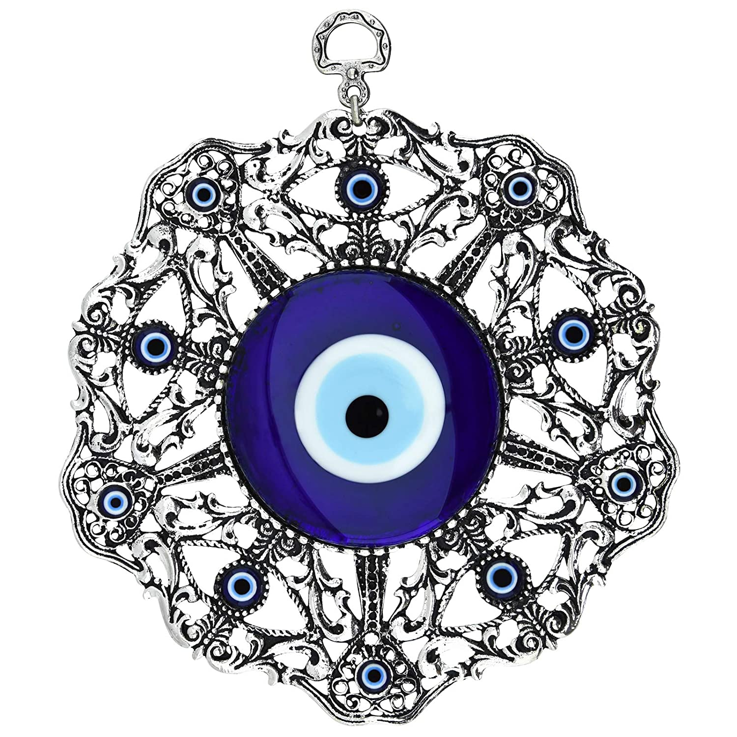 Erbulus Turkish Large Glass Blue Evil Eye Wall Hanging Ornament with Eye and Heart - Metal Home Decor - Turkish Amulet - Protection and Good Luck Charm Gift (Blue Heart)