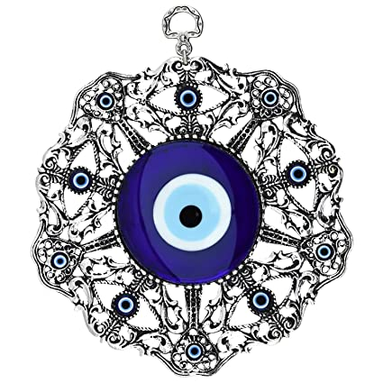 Bead Global Turkish Large Glass Blue Evil Eye Wall Hanging Ornament with  Eye and Heart - Metal Home Decor - Turkish Amulet - Protection and Good  Luck