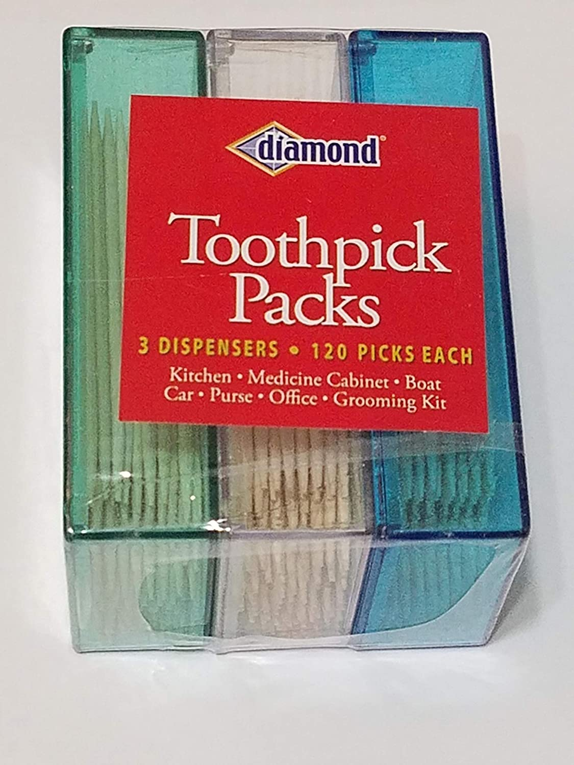 Diamond 3pk Dispenser Toothpick Packs Zedian 2855