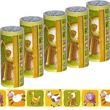 5 Rollen Kinder Bordüre Tiere [ selbstklebend ] Tapeten-Borte für Jungen  Kinderzimmer Borde grün gelb weiß