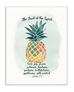 Stupell Home Décor The Fruit of the Spirit Multicolored Pineapple Wall Plaque Art, 10 x 0.5 x 15, Proudly Made in USA