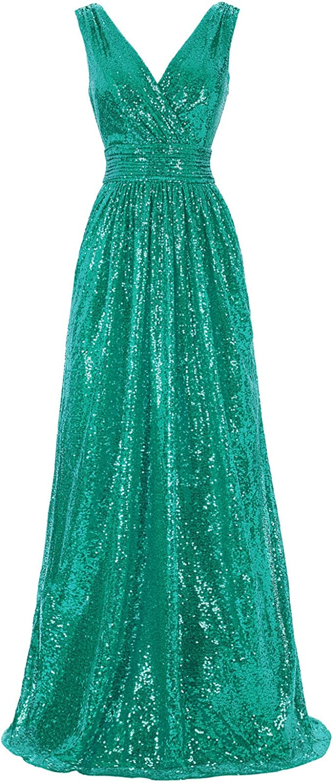 Women Sequin Gown Solid Sleeveless Halter Long Party Elegant Prom Dress Bridesmaid Dress