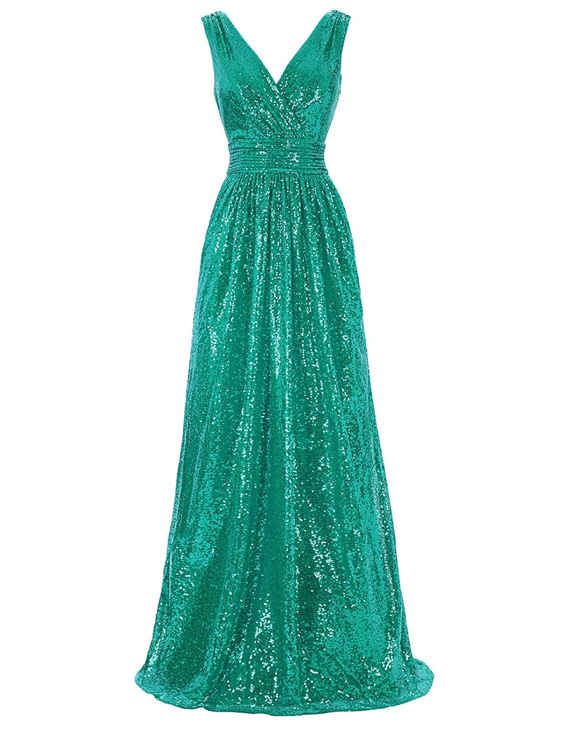 1950s History of Prom, Party, and Formal Dresses Kate Kasin Women Sequin Bridesmaid Dress Sleeveless Maxi Evening Prom Dresses $52.99 AT vintagedancer.com