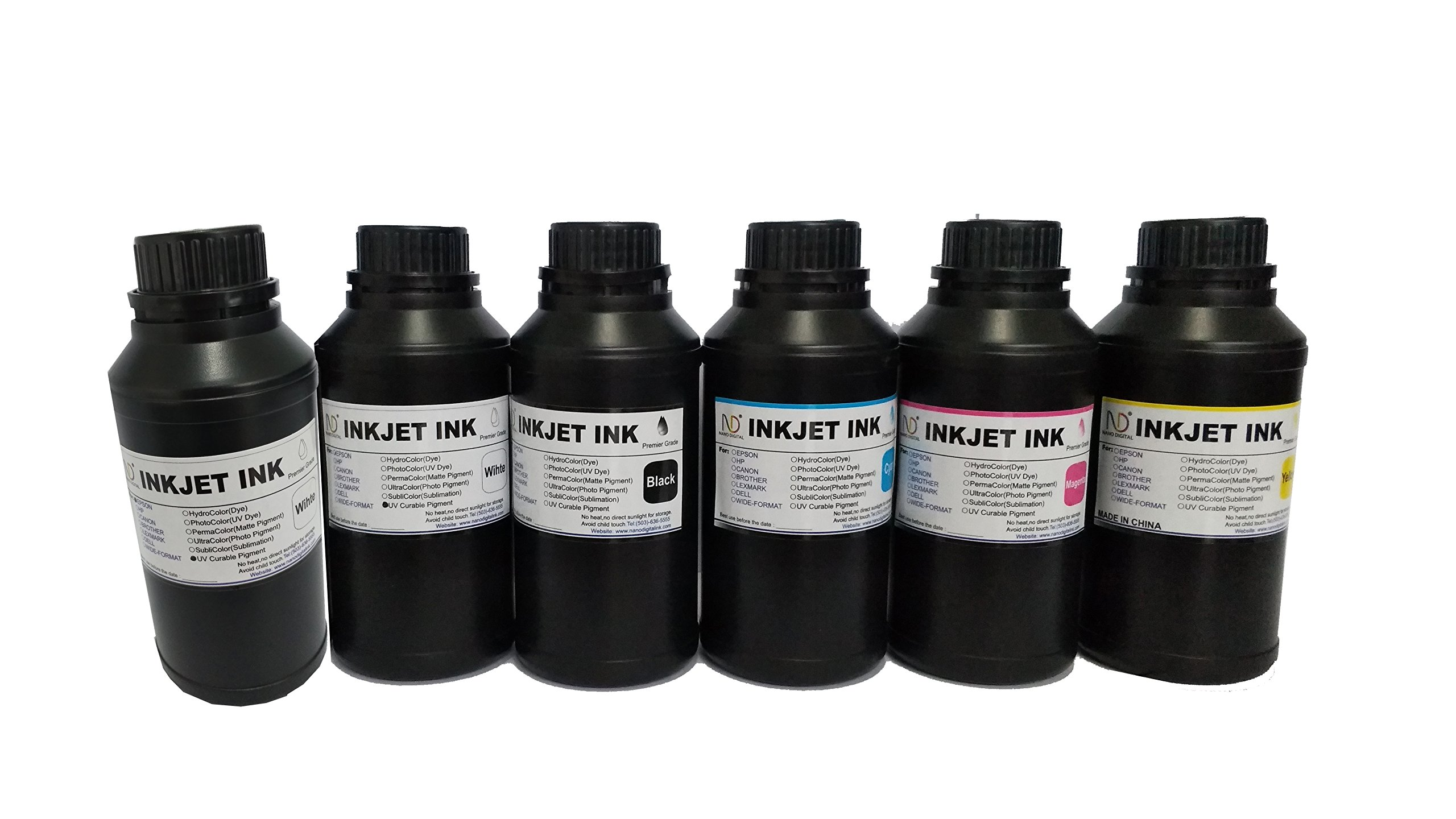 6x250ml ND Brand Premium Led UV Curable ink for DX5 DX7 Print head printer by ND