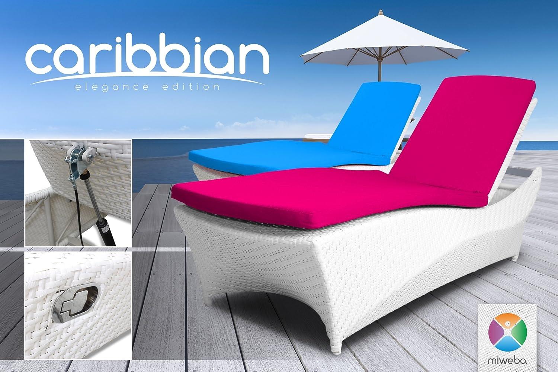 Miweba Rattan Sonnenliege Carribian Elegance (Rattan: Weiß - Polster ...