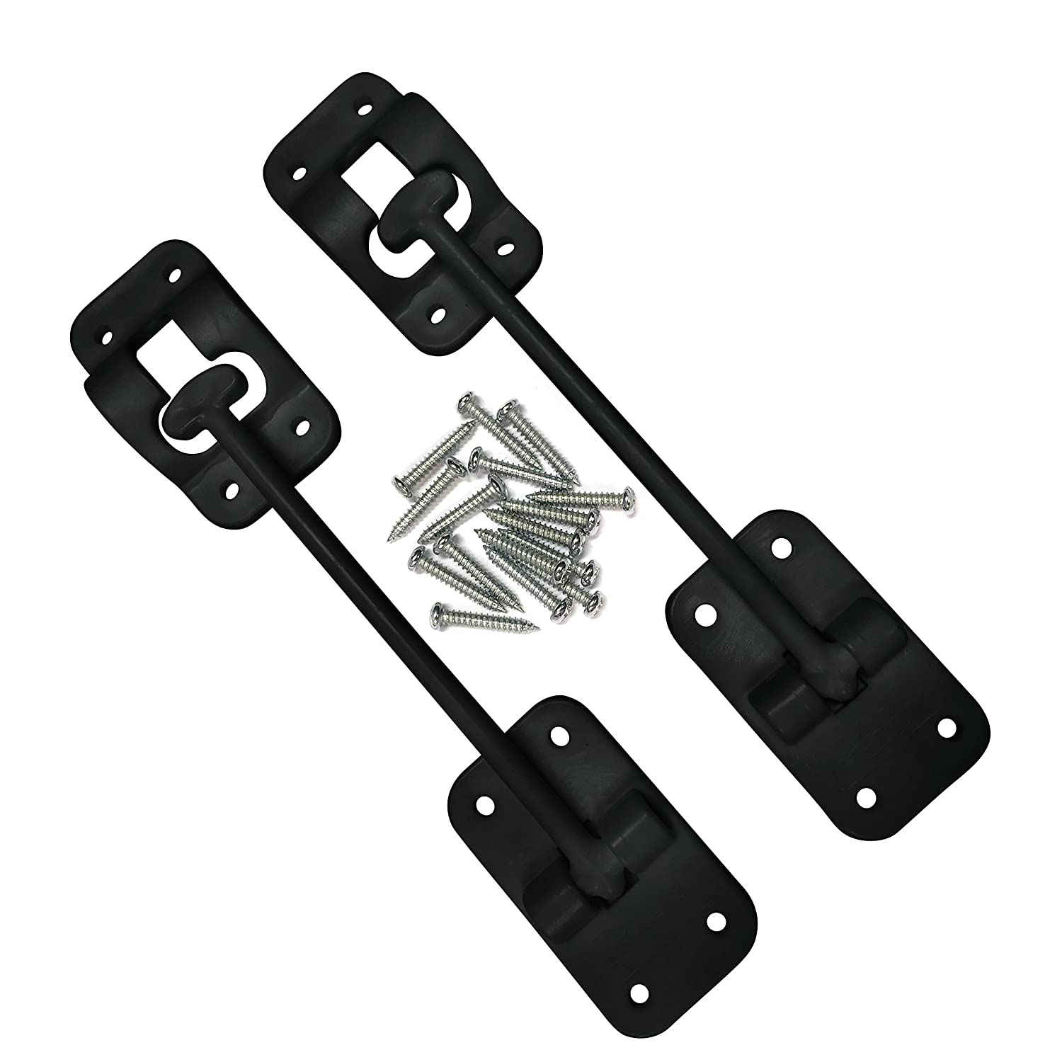 Black 2-Piece Motor Home Cargo Trailer Trailer CampN T-Style 3 1//2 Door Latch-Holder-Catch with Hardware for RV Camper OEM Replacement