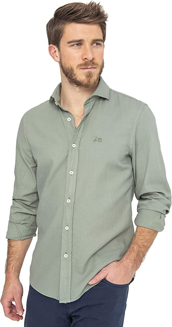 Scotta 1985 – Camisa Regular Fit Estructura Kaki, Algodón, Original, Exclusivo para Hombre: Amazon.es: Ropa y accesorios