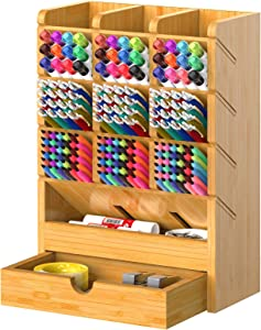Bamboo Pen Organizer for Desk Pencil Storage Wooden Multi-Functional Desktop Stationary Holder with 9 Compartments and Drawer for Home Office Art Supply by FURNINXS