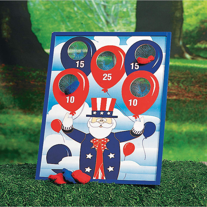 Fun Express - Patriotic Bean Bag Toss Game (7pc) for Fourth of July - Toys - Games - Bean Bag Toss - Fourth of July - 7 Pieces